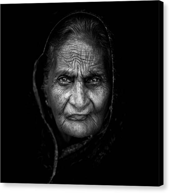Portrait Canvas Print - Wrinkles by Mohammed Baqer