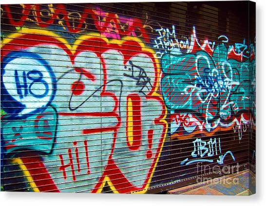 Graffiti Walls Canvas Print - Writing On The Wall by Debbi Granruth