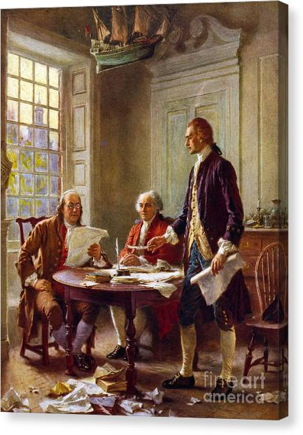 Writing Canvas Print - Writing The Declaration Of Independence, 1776, by Leon Gerome Ferris