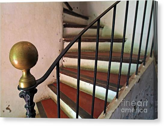 Wrought Iron Handrail Of An Old Staircase Canvas Print by Sami Sarkis