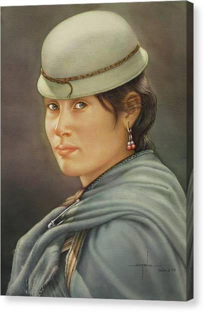 Bolivian Canvas Print - Ws1979bo009potosi Mevelina 14x20 by Alfredo Da Silva