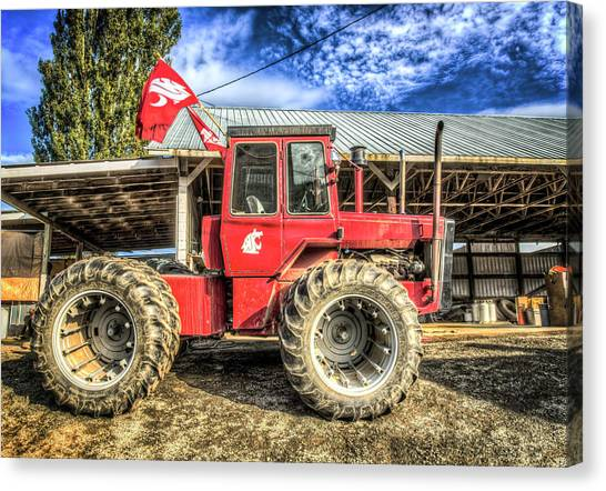 Pac 12 Canvas Print - Wsu Tractor by Spencer McDonald