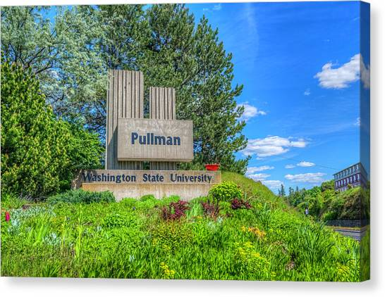 Pac 12 Canvas Print - Wsu Welcome To Pullman by Spencer McDonald