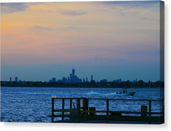 Wtc Over Jamaica Bay From Rockaway Point Pier Canvas Print