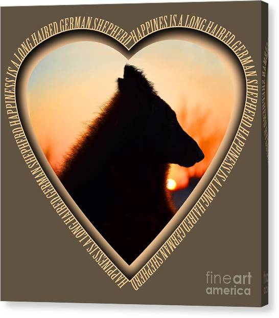 Wuffstar Happiness Is A Long Haired German Shepherd Heart Canvas Print
