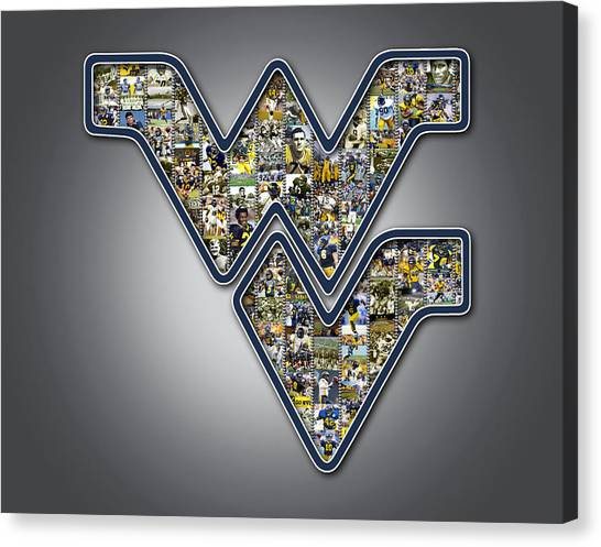 West Virginia University Wvu Canvas Print - West Virginia University Football by Fairchild Art Studio