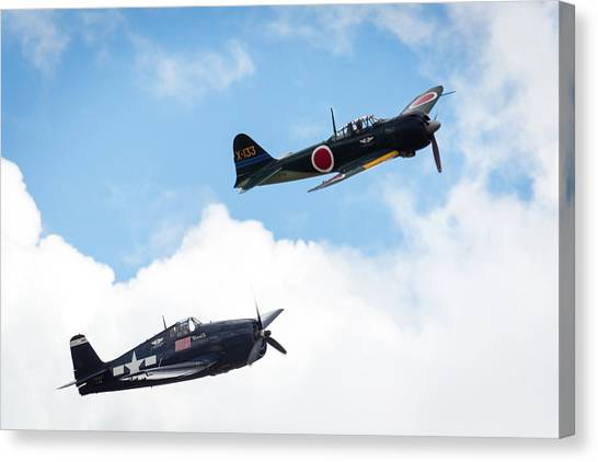 Ww II Dogfight Canvas Print by Brian Knott Photography