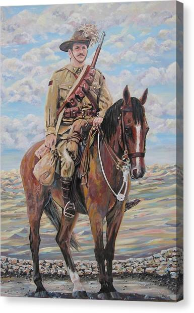 Ww1 Lighthorse At Beersheba Canvas Print by Leonie Bell