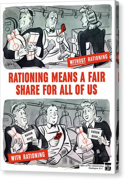 Conservation Canvas Print - Ww2 Rationing Cartoon by War Is Hell Store