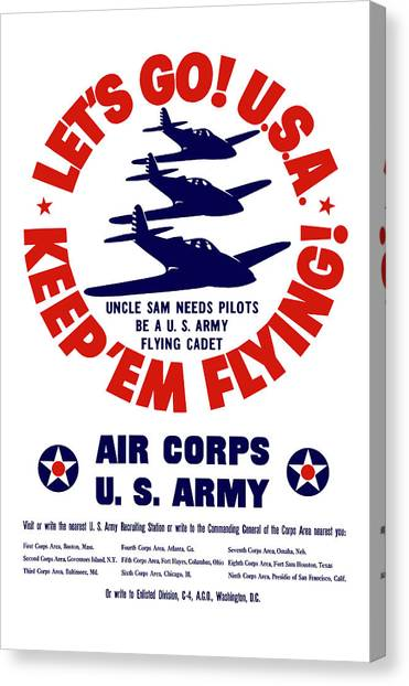 Air Force Canvas Print - Us Army Air Corps - Ww2 by War Is Hell Store