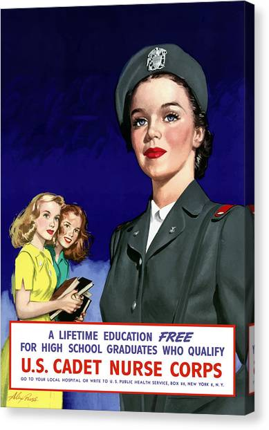 Nursing Canvas Print - Ww2 Us Cadet Nurse Corps by War Is Hell Store