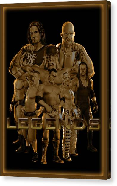 Steve Austin Canvas Print - Wwe Legends By Gbs by Anibal Diaz
