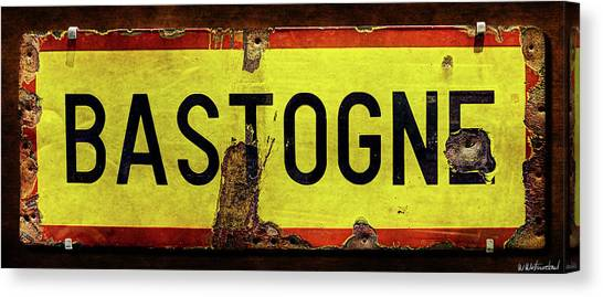 Wwii Bastogne Town Sign Canvas Print