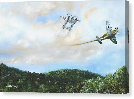 Wwii Dogfight Canvas Print