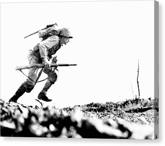 Pacific Division Canvas Print - Wwii Marine Crosses Death Valley Okinawa by Historic Image