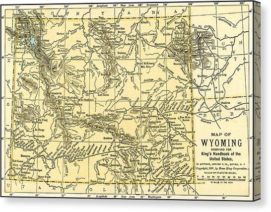 Wyoming Antique Map 1891 Canvas Print