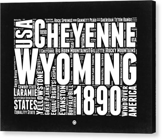 Wyoming Canvas Print - Wyoming Black And White Word Cloud Map by Naxart Studio