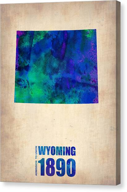Wyoming Canvas Print - Wyoming Watercolor Map by Naxart Studio