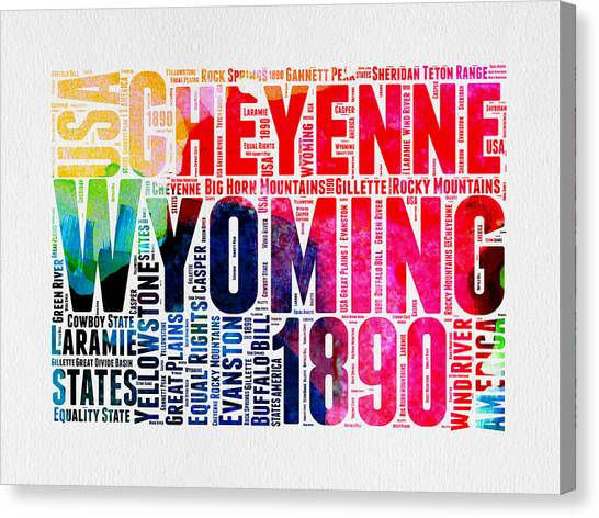 Wyoming Canvas Print - Wyoming Watercolor Word Cloud Map by Naxart Studio