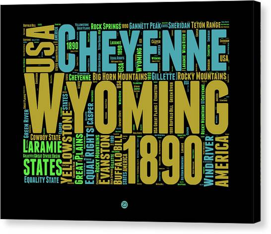 Independence Day Canvas Print - Wyoming Word Cloud Map 1 by Naxart Studio