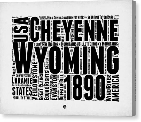 Wyoming Canvas Print - Wyoming Word Cloud Map 2 by Naxart Studio