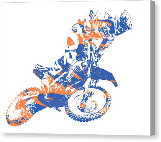 Motocross Canvas Print - X Games Motocross Pixel Art 1 by Joe Hamilton
