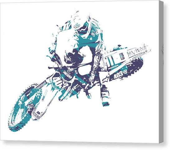 Motocross Canvas Print - X Games Motocross Pixel Art 2 by Joe Hamilton