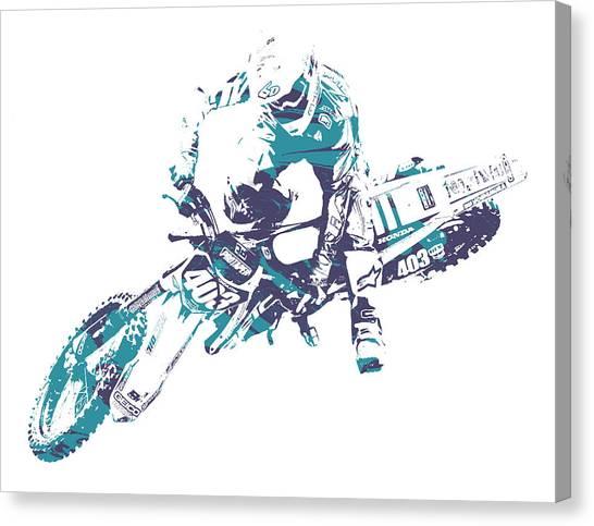 Motocross Canvas Print - X Games Motocross Pixel Art 2 by Joe Hamilton