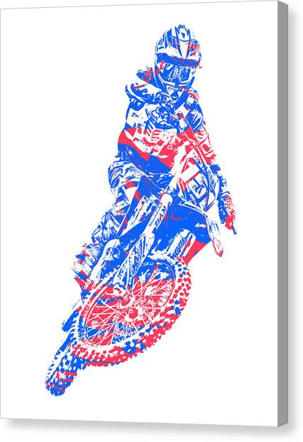 Motocross Canvas Print - X Games Motocross Pixel Art 5 by Joe Hamilton