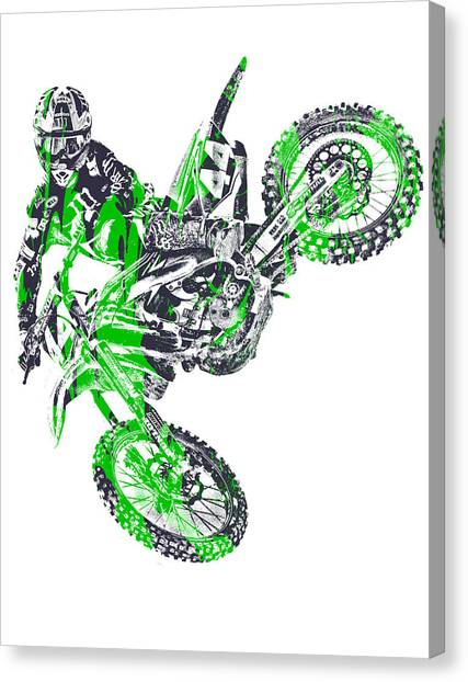 Motocross Canvas Print - X Games Motocross Pixel Art 7 by Joe Hamilton