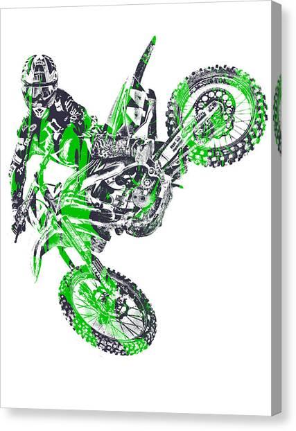 Motocross Canvas Print - X Games Motocross Pixel Art 7 by Joe Hamilton