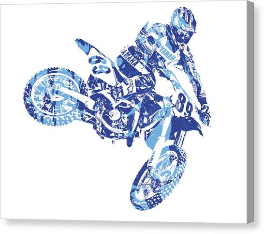 Motocross Canvas Print - X Games Motocross Pixel Art 8 by Joe Hamilton