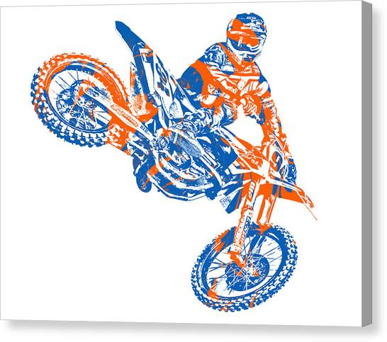 Motocross Canvas Print - X Games Motocross Pixel Art 9 by Joe Hamilton