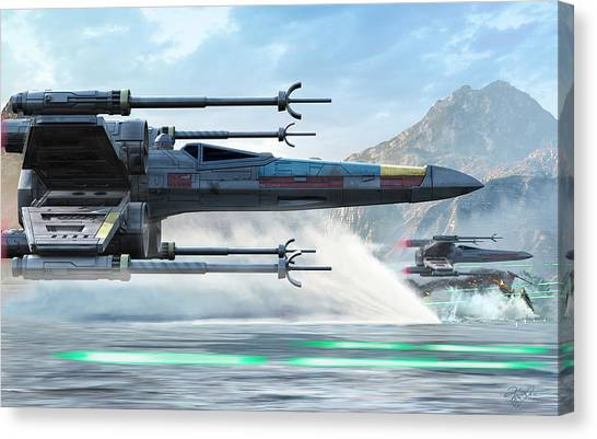 Space Ships Canvas Print - X-wing Full Throttle  by Kurt Miller