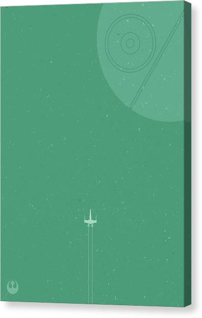 Jedi Canvas Print - X-wing Meets Death Star by Samuel Whitton