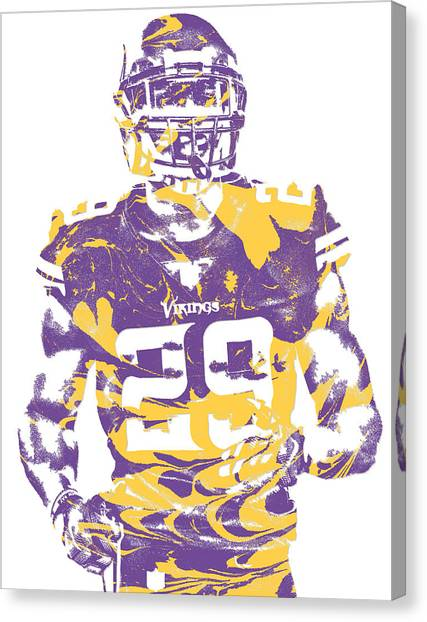 Minnesota Vikings Canvas Print - Xavier Rhodes Minnesota Vikings Pixel Art 2 by Joe Hamilton