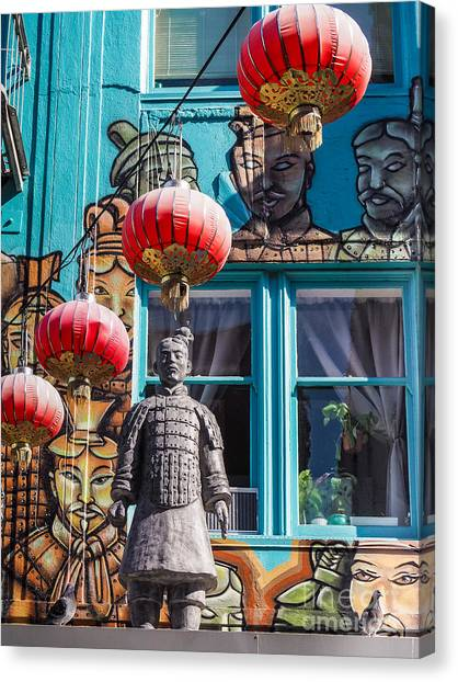 Xian Soldier With Graffiti Canvas Print