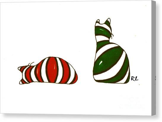 Xmas Stocking Cats Canvas Print