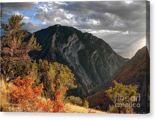 Brigham Young Byu Canvas Print - Y Mountain Above Provo Utah At Sunset by Gary Whitton