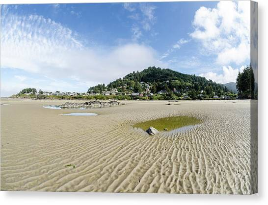 Canvas Print featuring the photograph Yachats River At Low Tide by Margaret Pitcher