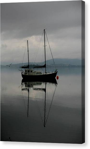Yacht At Silent Moorings Canvas Print