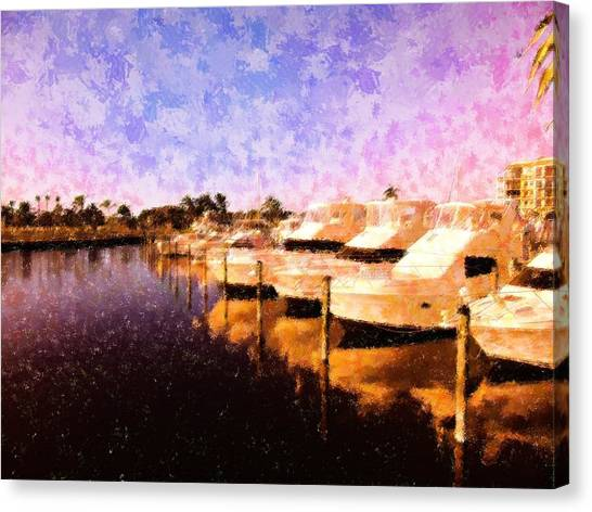 Yacht Club Row Canvas Print by Florene Welebny