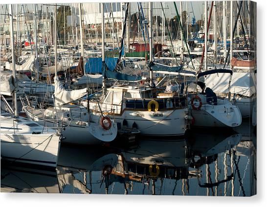 Yachts In The Lisboa Dock  Canvas Print by Maryia Isachenka
