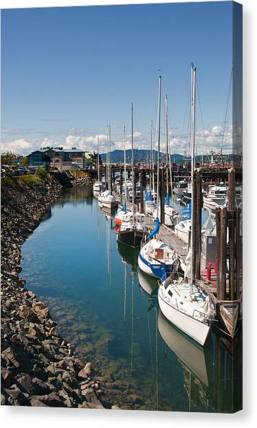 Yachts In The Marina Canvas Print by Melody Watson