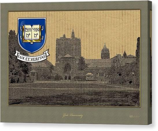 Yale University Canvas Print - Yale University Building With Crest by Serge Averbukh