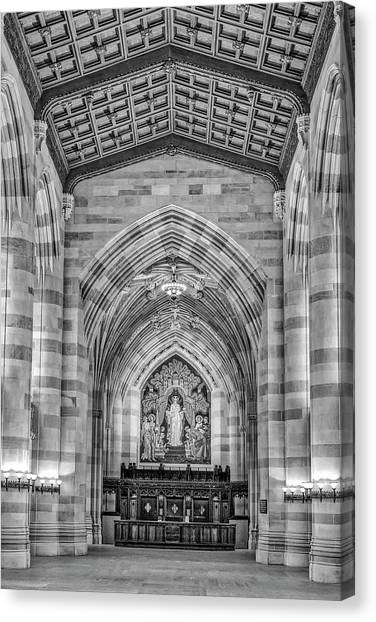 Yale University Canvas Print - Yale University Sterling Memorial Library Bw  by Susan Candelario