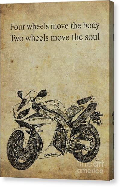 Yamaha Canvas Print - Yamaha Quote, Four Wheels Move The Body, Two Wheels Move The Soul by Drawspots Illustrations