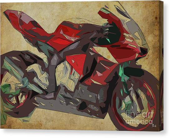 Yamaha Canvas Print - Yamaha Yzf-r1 2015 Abstract Red Motorcycle Print For Man Cave Or Man Office by Drawspots Illustrations