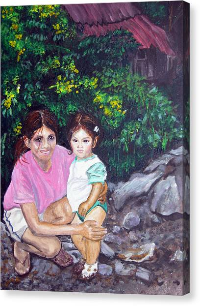 Yamileth And Daughter Canvas Print by Sarah Hornsby
