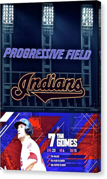 Cleveland Indians Canvas Print - Yan Gomes by Frozen in Time Fine Art Photography